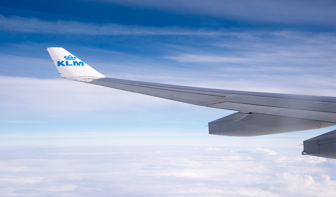 Up in the air med KLM