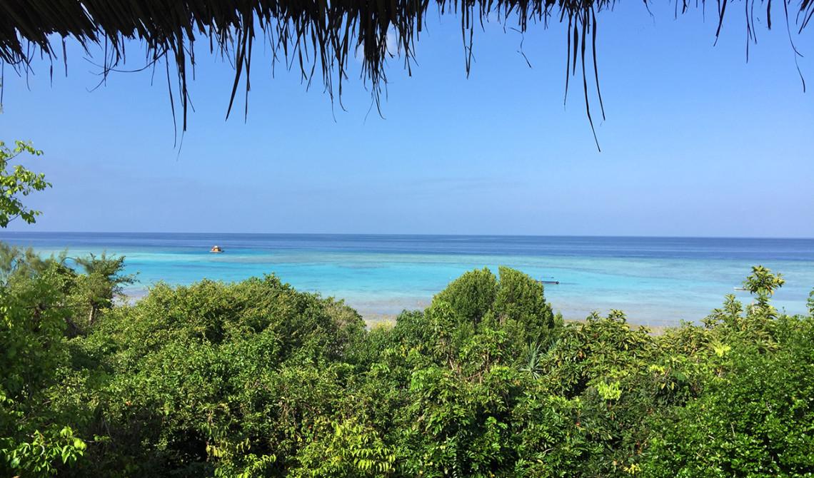 Morgonvy från vårt rum på Manta Resort, Pemba, Tanzania