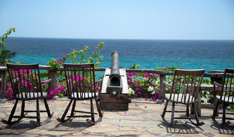 Utsikt från serveringen på Manta Resort, Pemba Island, Tanzania
