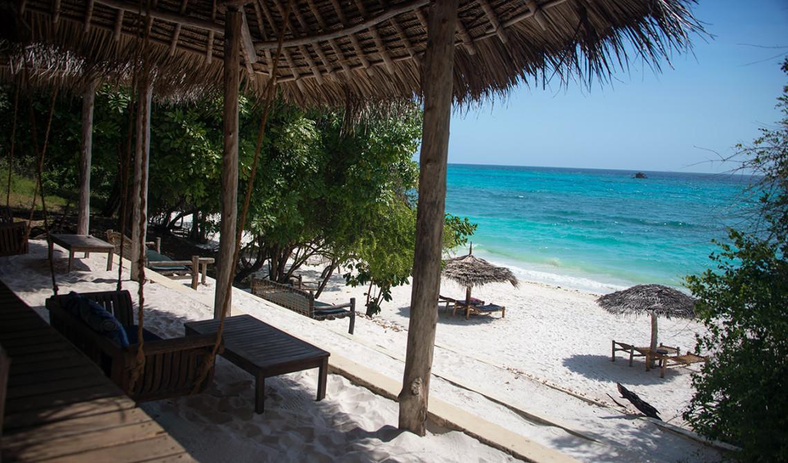 Läcker vy från strandbaren på Manta Resort, Pemba Island, Tanzania