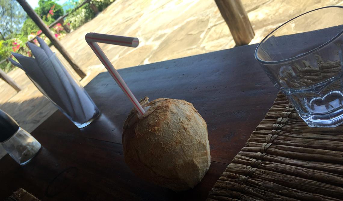 Färsk kokosnöt till lunch