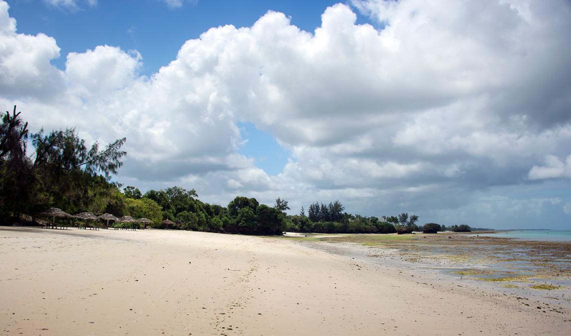 Stranden utanför Manta Resort på Pemba, Tanzania