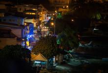 Saint-Luce kvällstid. Vy från vår balkong på La Paradis på Martinique
