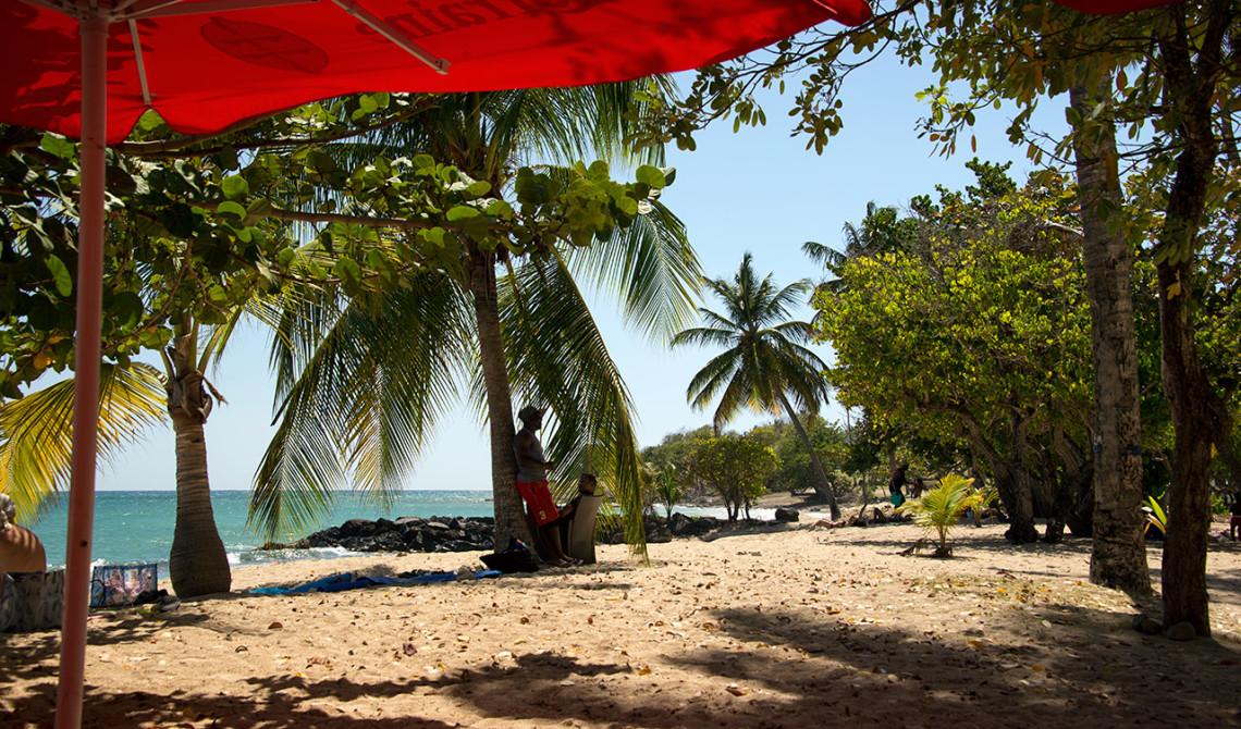 Vår vy under lunchen på Caribbean Food Beach Restaurant, Sainte-Luce, Martinique