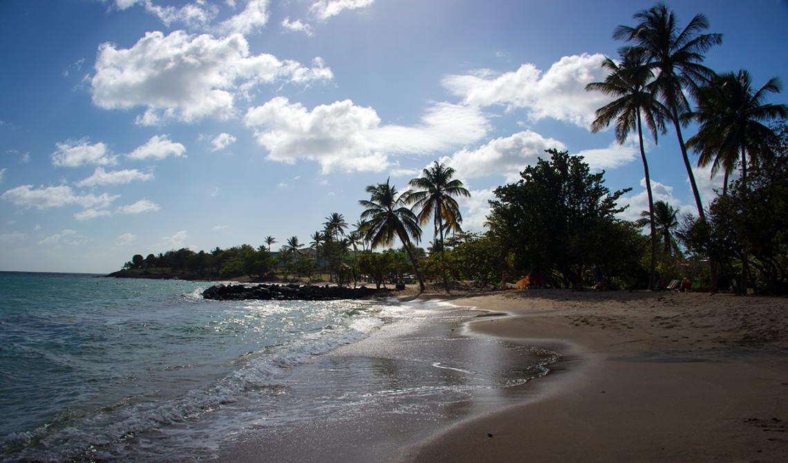 Kvällsljus över stranden Plage de Gros Raisin, Sainte-Luce, Martinique