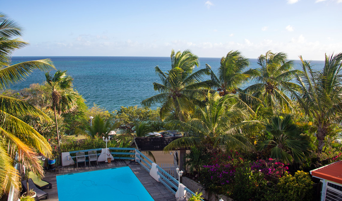 Vacker utsikt från vår balkong på Ti ' Paradis, Martinique