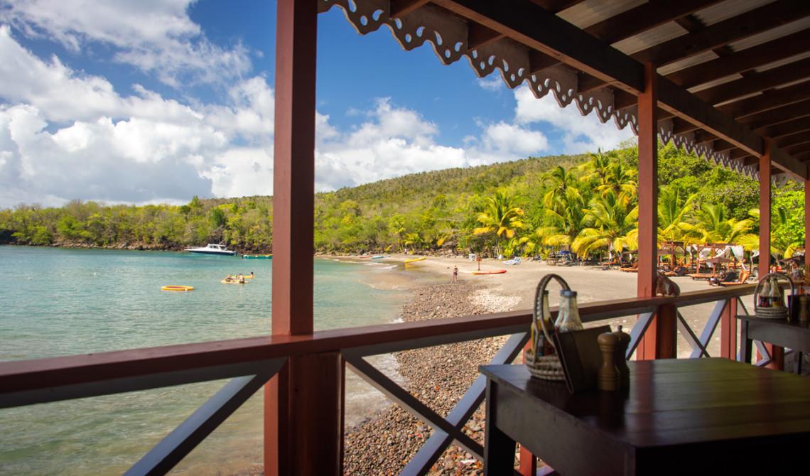 Lunch på Ti Maje Restaurang och strandbar, Ti Kaye Resort & Spa, Saint Lucia