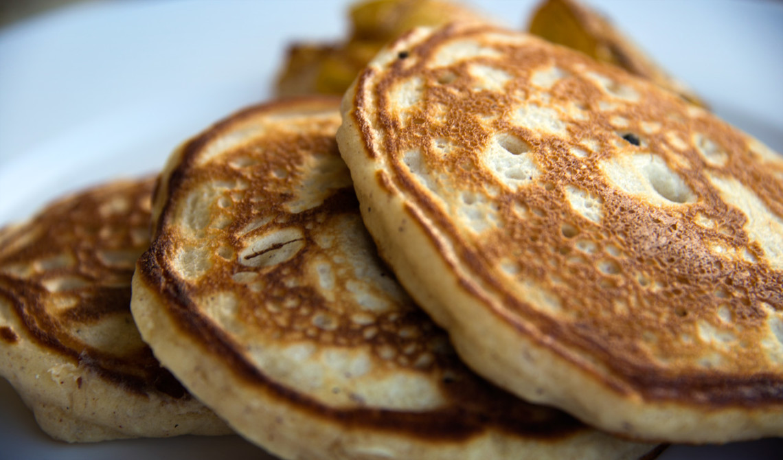 Pannkakor serverade på Mango Tree Restaurant på Stonefield Estate Resort, Soufrière, Saint Lucia