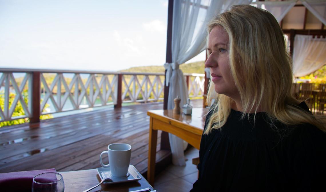 Anki under frukost på Ti Kaye Resort & Spa, Saint Lucia