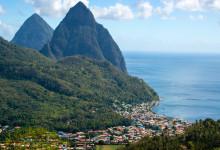 Vacker utsikt över Pitons på Sanit Lucia