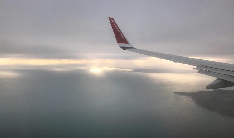 På väg att landa på Irland med Norwegian