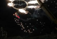 Sky Dance högt uppe i skyn vid The Custom House i Dublin på nyårsafton