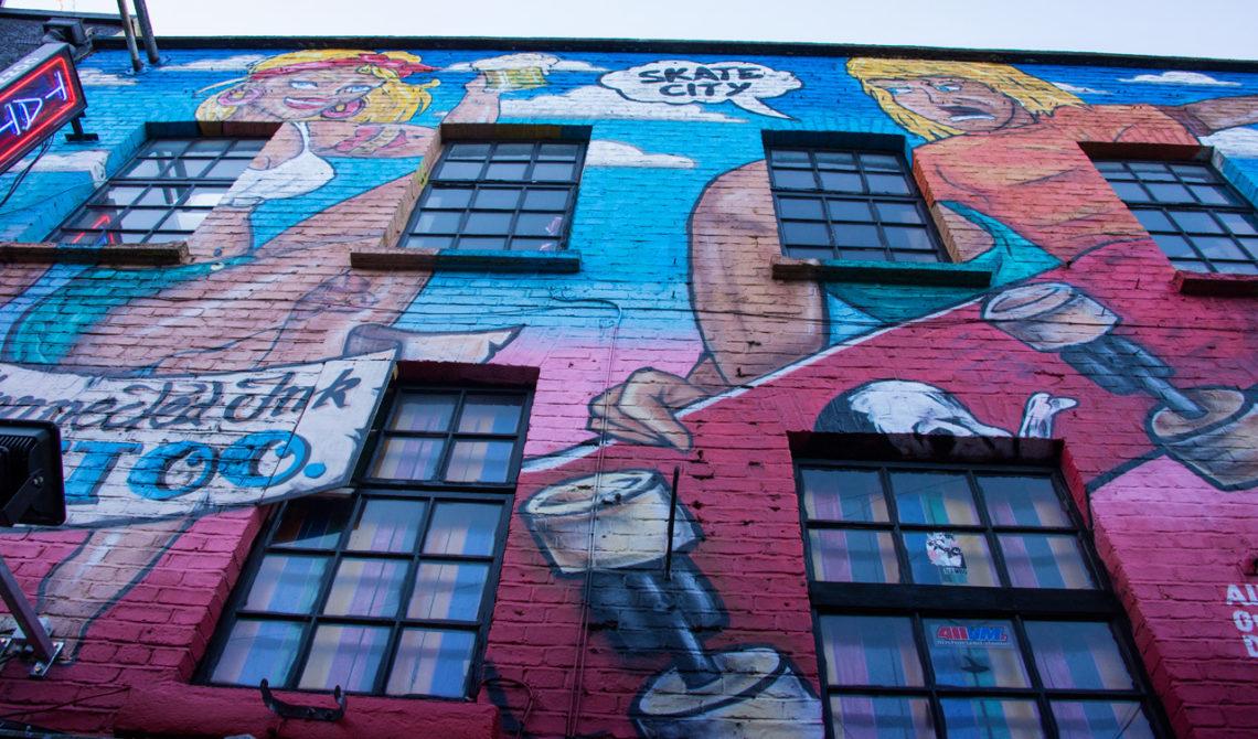 Målad husvägg i Dublin