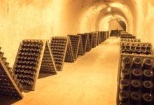 Champagneflaskor så långt ögat når på Taittinger i Reims, Frankrike