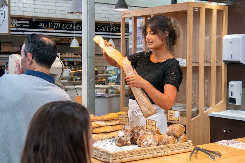 Brödförsäljning Les Halles, Biarritz Frankrike