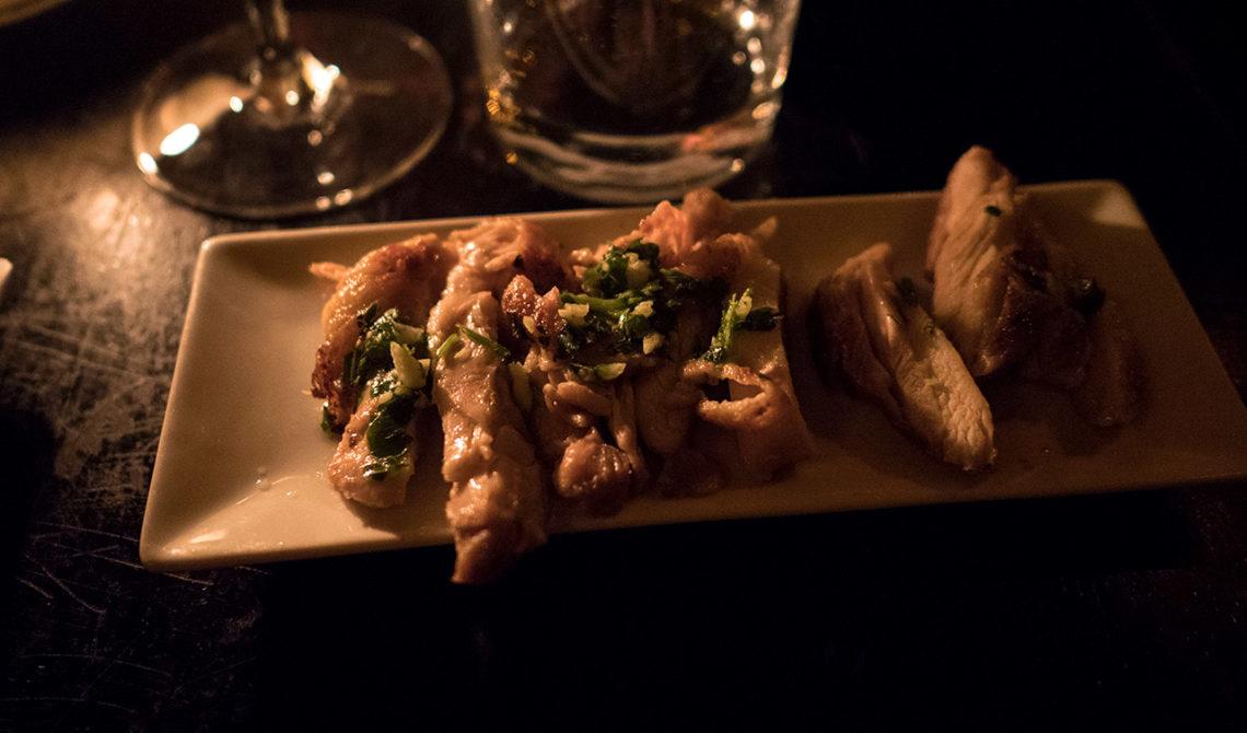 Brocheta de pollo, serverat på The Port House Pintxo i Dublin