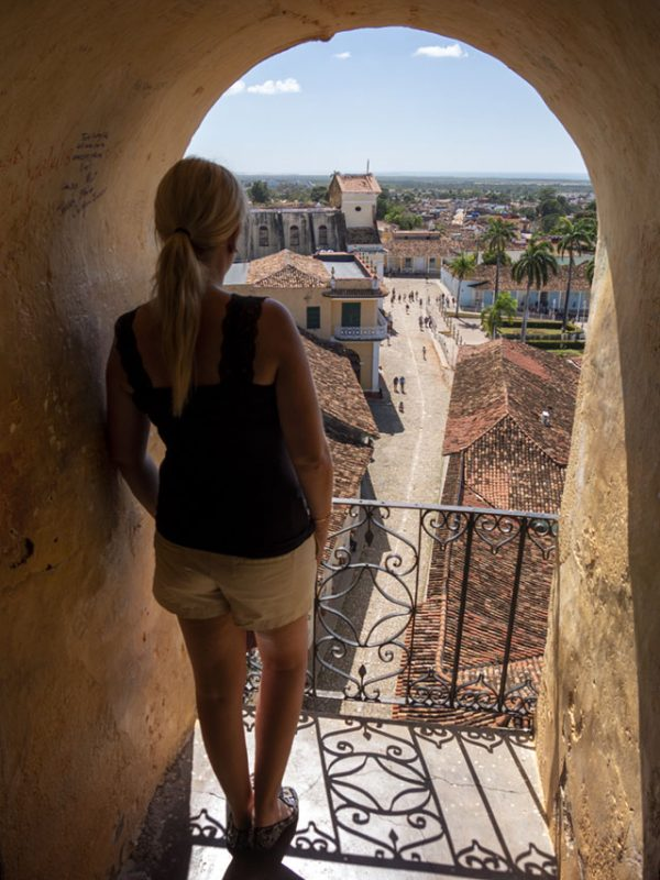 Anki enjoying the view from the church tower in Trinidad