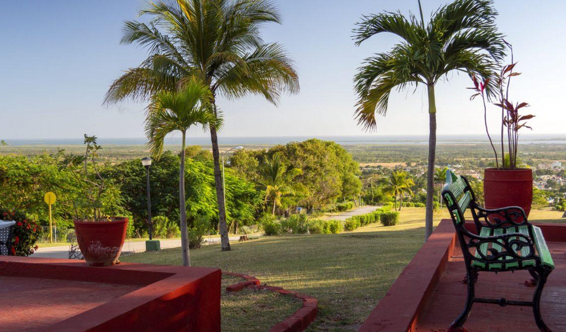 Sitting outside Hotel Las Cuevas, enjoying the beautiful greenery